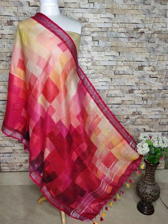 Higher Dimensional Design Pink Border Digital Print Linen Dupatta