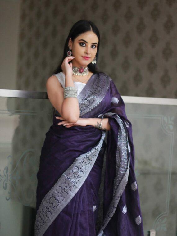 Luminous Dark Purple Banarasi Linen Saree with Silver Zari Border (6)