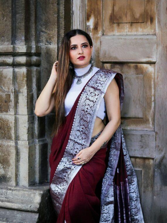 Lustrous Burgundy Banarasi Linen Saree with Silver Zari Border (2)