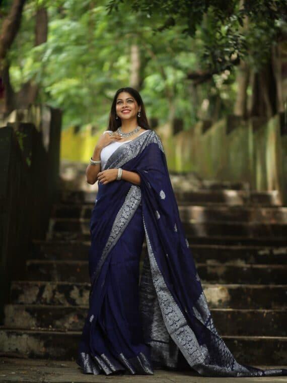 Magnificent Royal Blue Banarasi Linen Saree with Silver Zari Border (5)