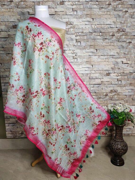 Mystic Green Floral Design Pink Border Digital Print Linen Dupatta