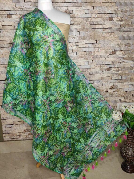 Natural Forest Feel Leaf Design Digital Print Linen Dupatta
