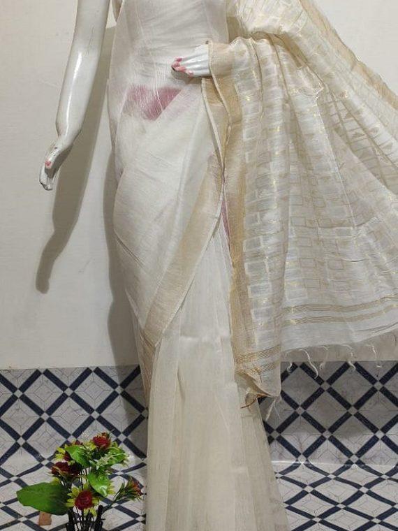 Pearl White Plain Fletcher Silk By Linen Saree With Designer Pallu