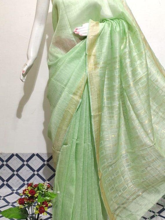 Pista Green Plain Fletcher Silk By Linen Saree With Designer Pallu