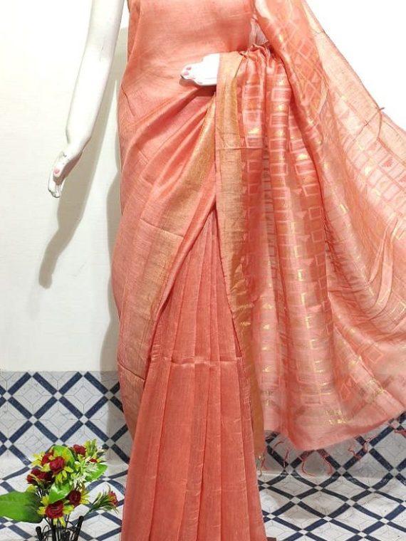 Pretty Peach Plain Fletcher Silk By Linen Saree With Designer Pallu