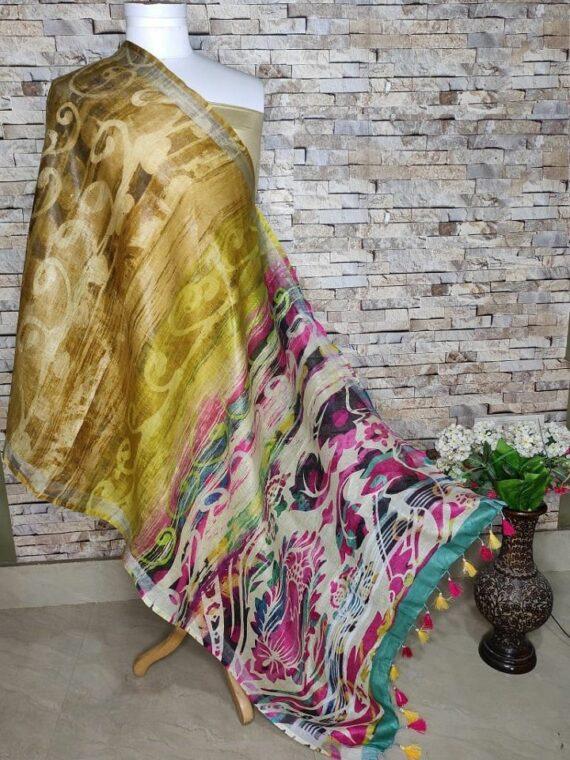 Profound Multi Color Blend Digital Print Linen Dupatta
