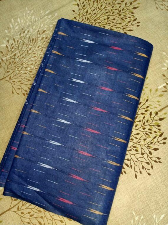 Stunning Dark Blue Ikkat Cotton Weave Fabric By Meter