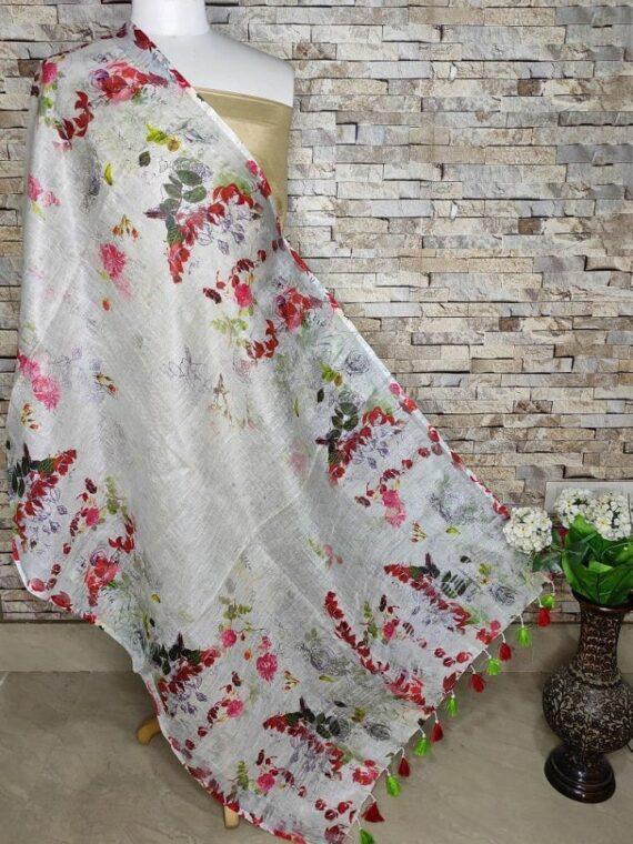 Subtle Relaxing White Floral Digital Print Linen Dupatta