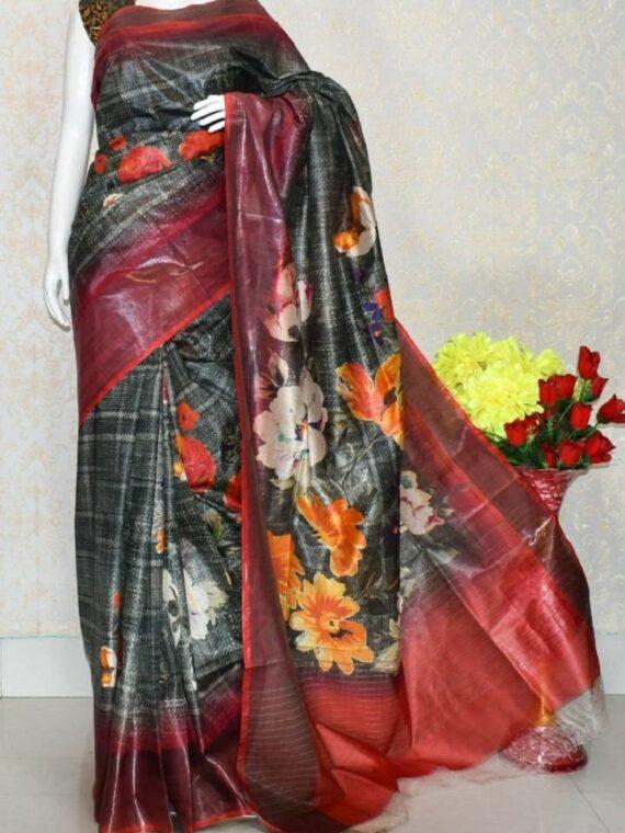 Awesome Black Artistic Design Tussar Muga Digital Print Linen Saree