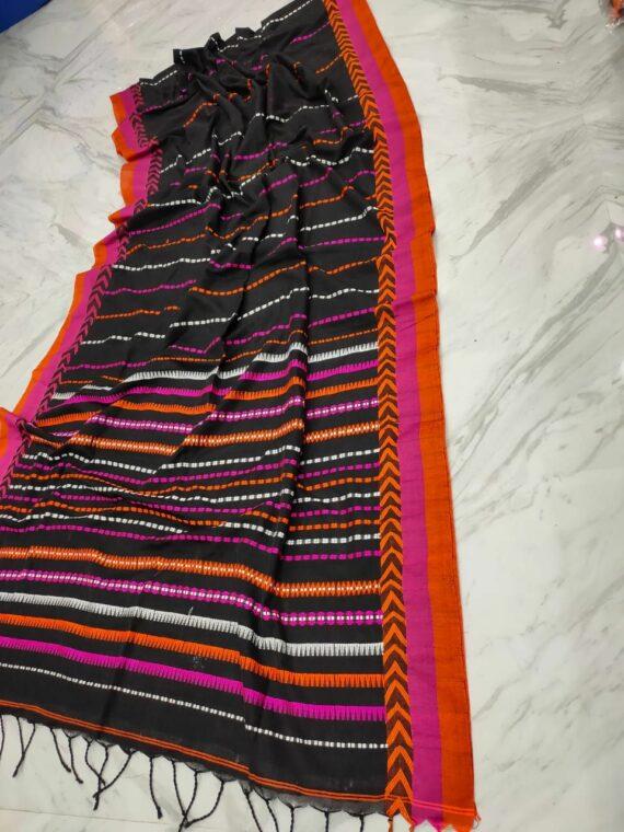 Black With Pink Orange Stripe Pattern Handwoven Cotton Saree