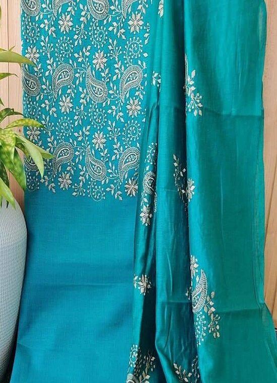 Charming Blue Embroidery Work Katan Silk Top Dupatta With Plain Bottom
