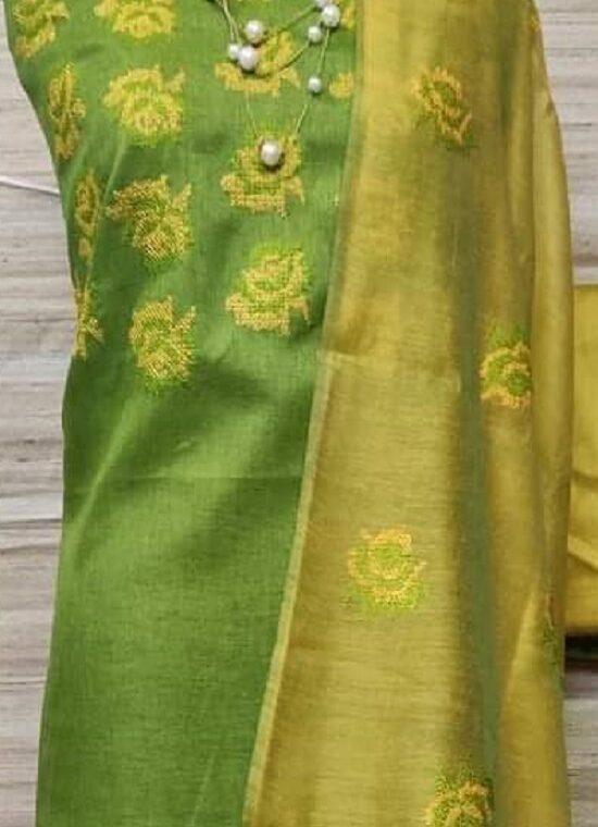 Cherishing Green Katan Silk Embroidery Dress Material With Plain Bottom