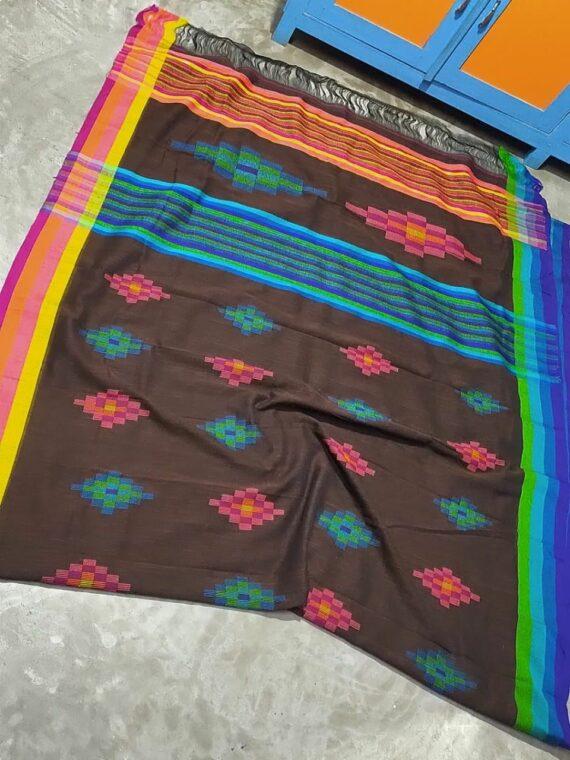 Dark Brown Geometrical Design Handwoven Cotton Saree