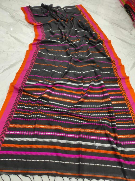 Dark Grey With Pink Orange Stripe Pattern Handwoven Cotton Saree