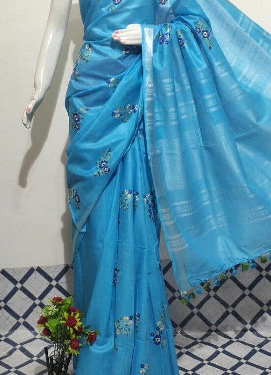 Divine Blue Floral Embroidery Linen Saree