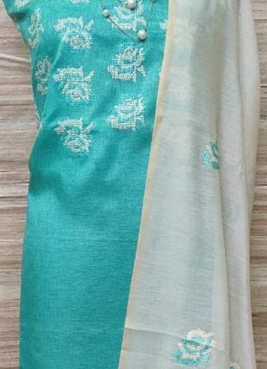 Divine Blue Katan Silk Embroidery Dress Material With Plain Bottom