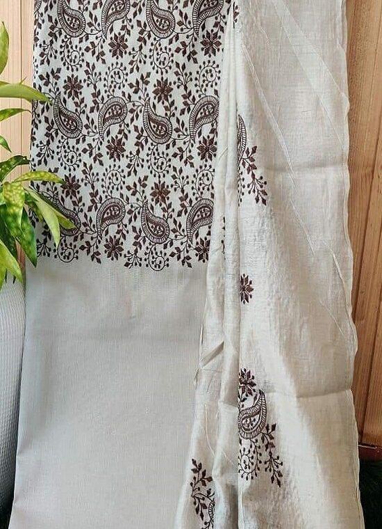 Divine OffWhite Embroidery Work Katan Silk Top Dupatta With Plain Bottom