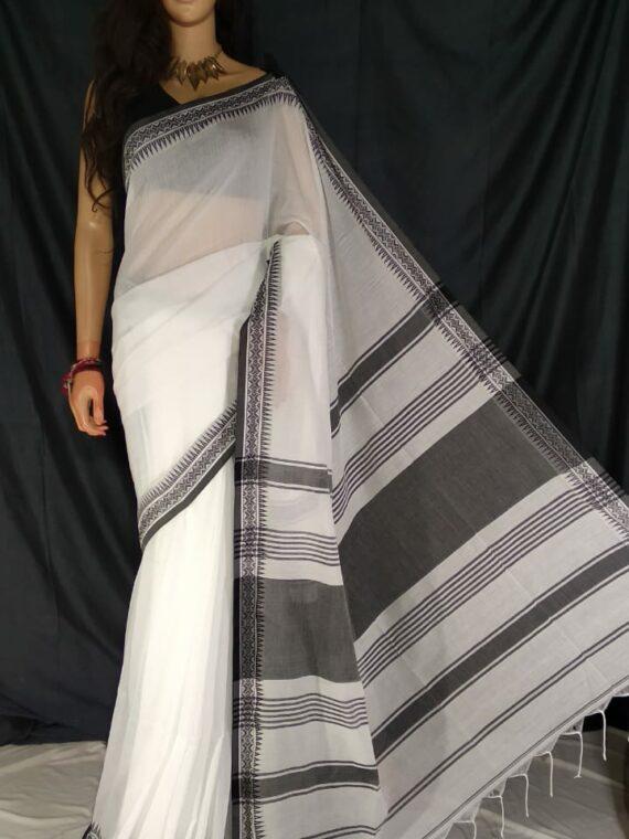 Divine White Pure Cotton Small Temple Border Handwoven Saree