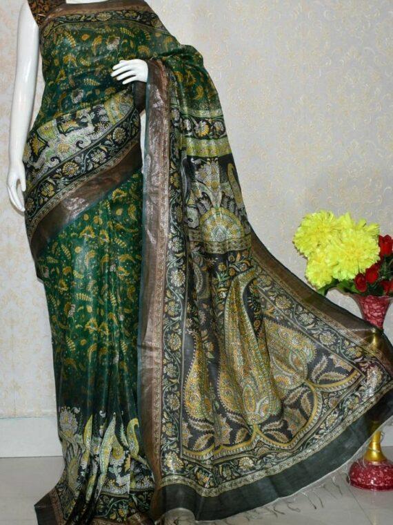 Elegant Dark Green Artistic Design Tussar Muga Digital Print Linen Saree