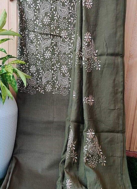 Enticing Mehendi Green Embroidery Work Katan Silk Top Dupatta With Plain Bottom