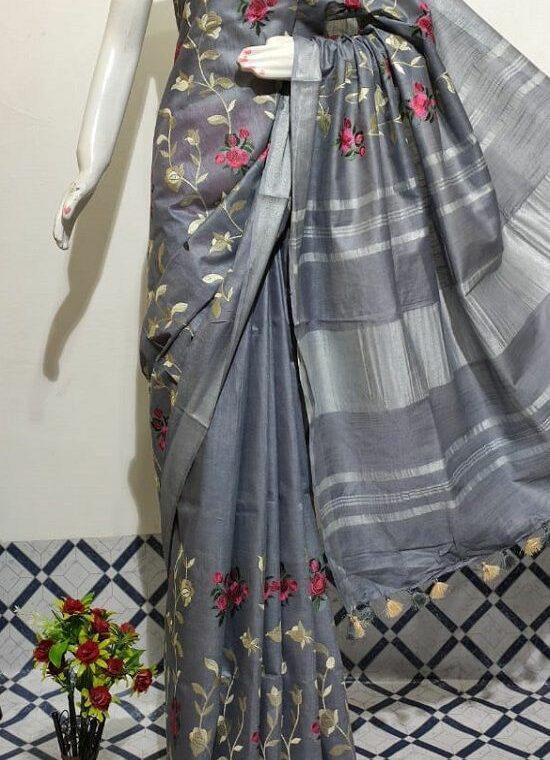 Gracious Grey Floral Embroidery Linen Saree