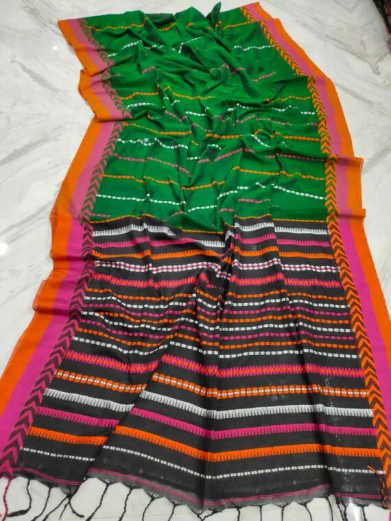 Green With Pink Orange Stripe Pattern Handwoven Cotton Saree