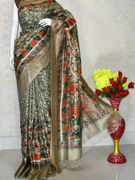 Grey Offwhite Floral Design Tussar Muga Digital Print Linen Saree