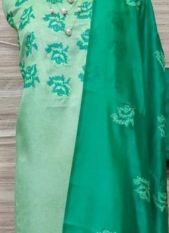 Light Green Katan Silk Embroidery Dress Material With Plain Bottom