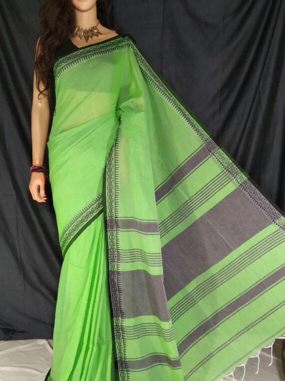Light Green Pure Cotton Small Temple Border Handwoven Saree