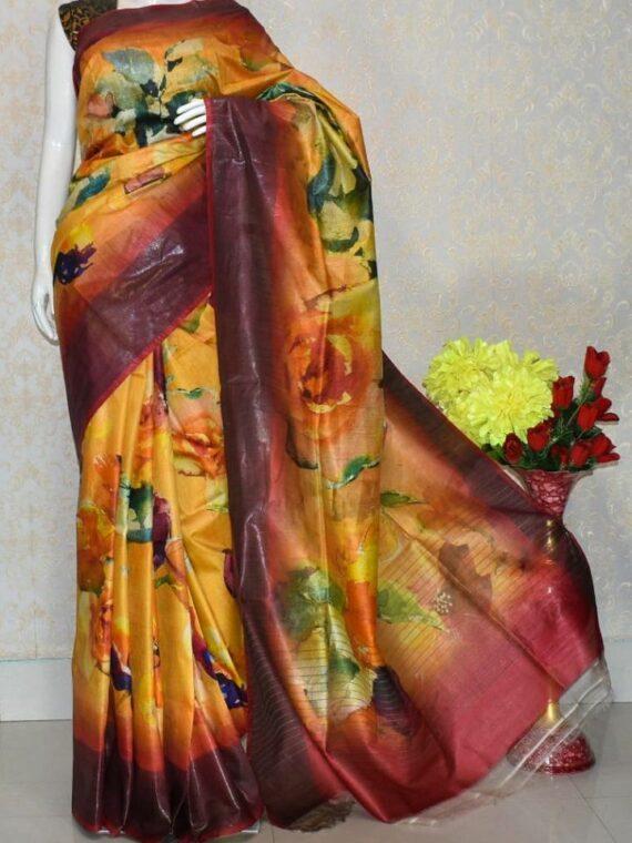 Maroon Yellow Blend Floral Design Tussar Muga Digital Print Linen Saree