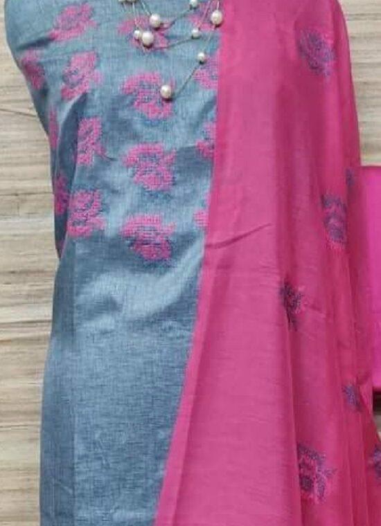 Mesmerizing Katan Silk Embroidery Dress Material With Plain Pink Bottom