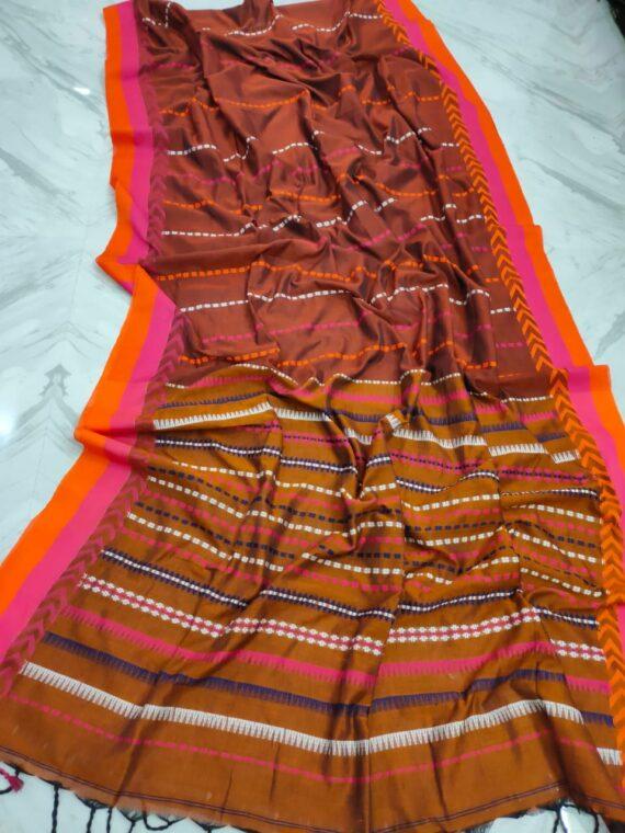 Mustard Brown Pink Orange Stripe Pattern Handwoven Cotton Saree