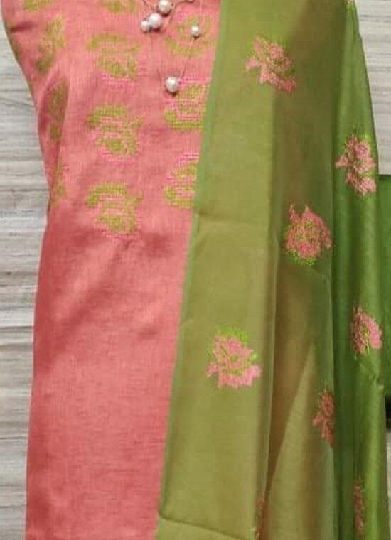 Peach Pink Katan Silk Embroidery Dress Material With Plain Green Bottom