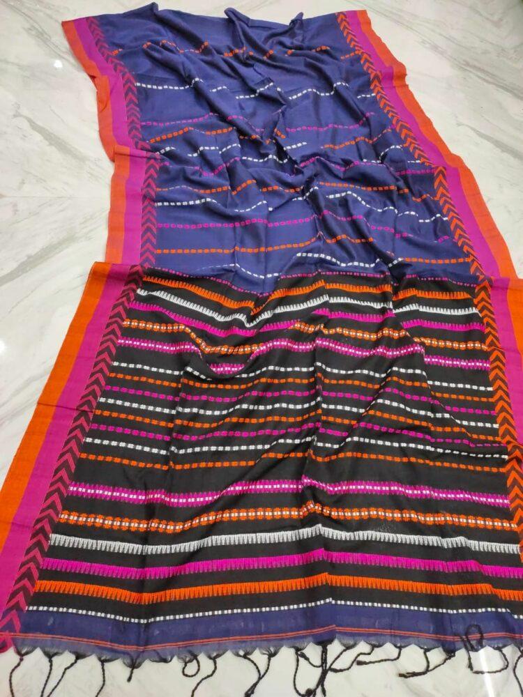 Purple Blue With Pink Orange Stripe Pattern Handwoven Cotton Saree