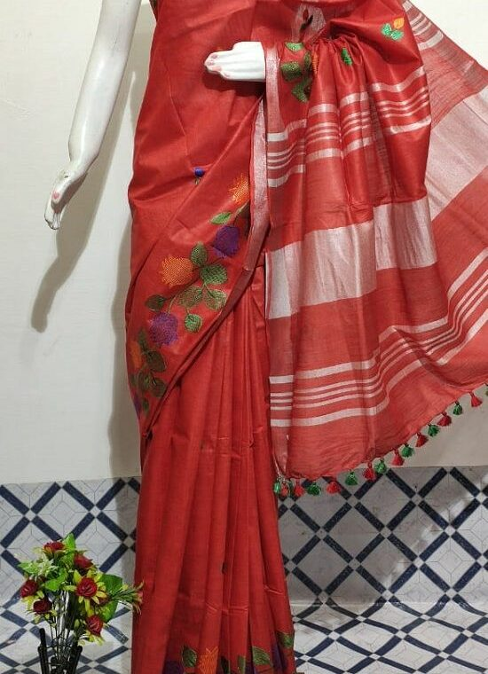 Ravishing Red Floral Embroidery Linen Saree