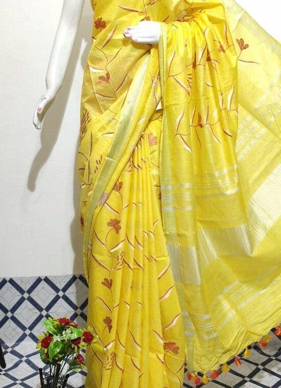 Spiritual Yellow Floral Embroidery Linen Saree