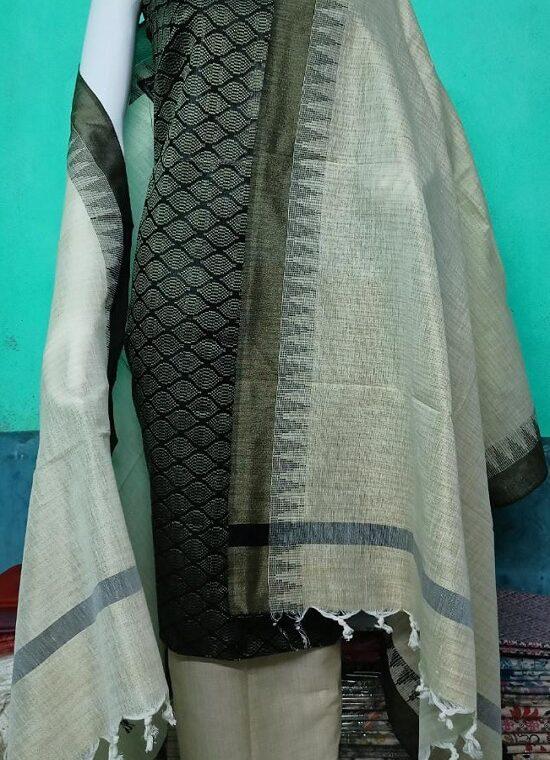 Stunning Black Katan Silk Woven Dress Material With Cotton Bottom Dupatta