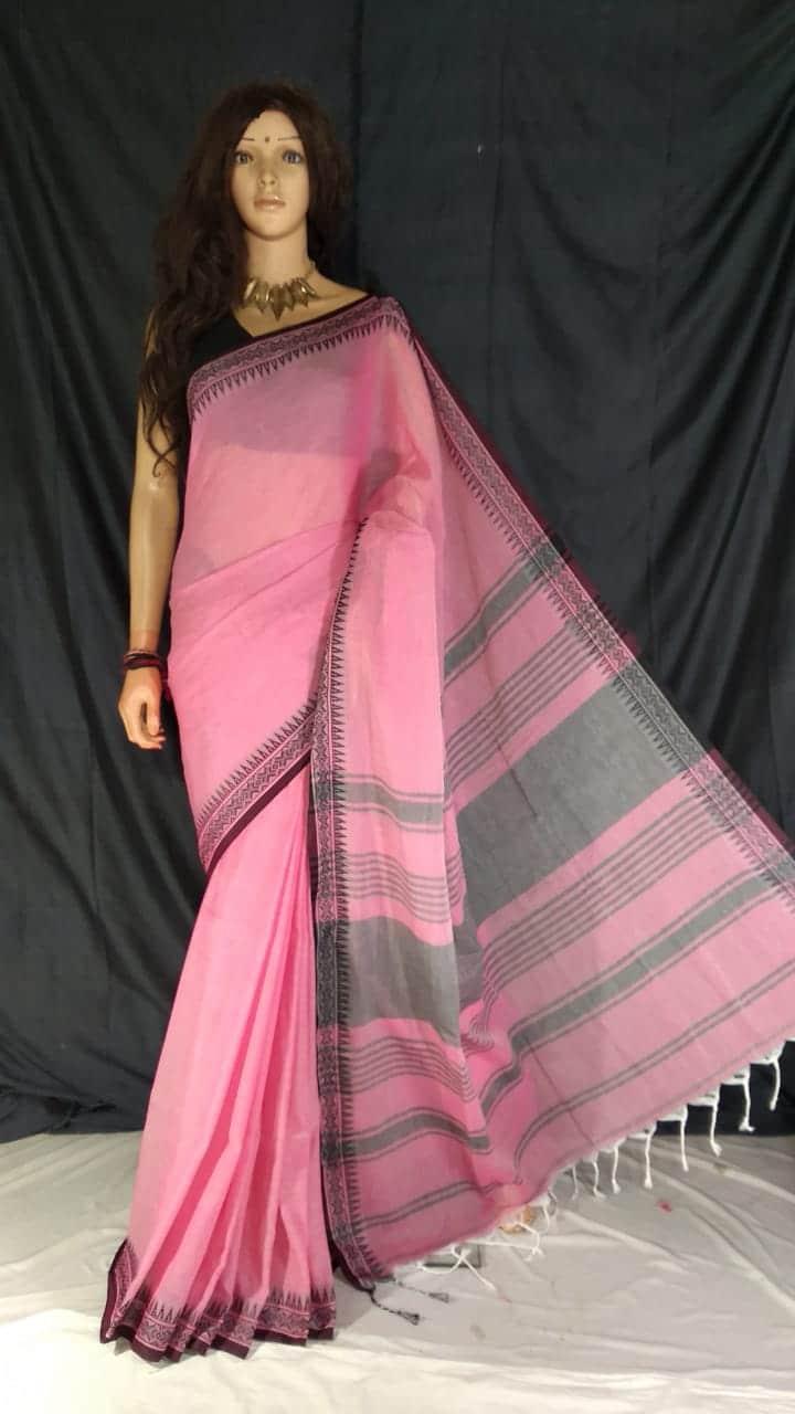 Subtle Pink Pure Cotton Small Temple Border Handwoven Saree