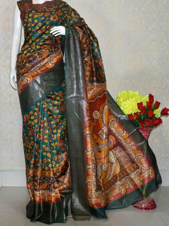 Teal Blue Floral Design Tussar Muga Digital Print Linen Saree