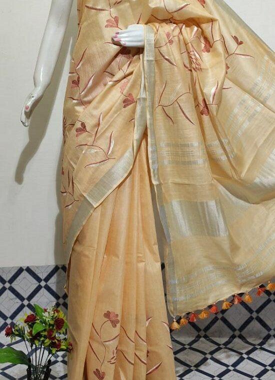 Warm Light Peach Floral Embroidery Linen Saree