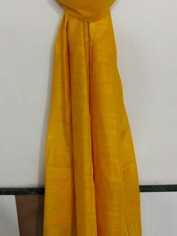 Bright Yellow Ball Butti Linen Dupatta