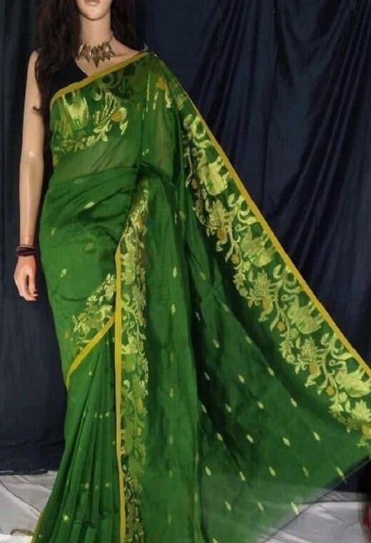Brilliant Green Cotton Silk Saree With Artistic Border Weave
