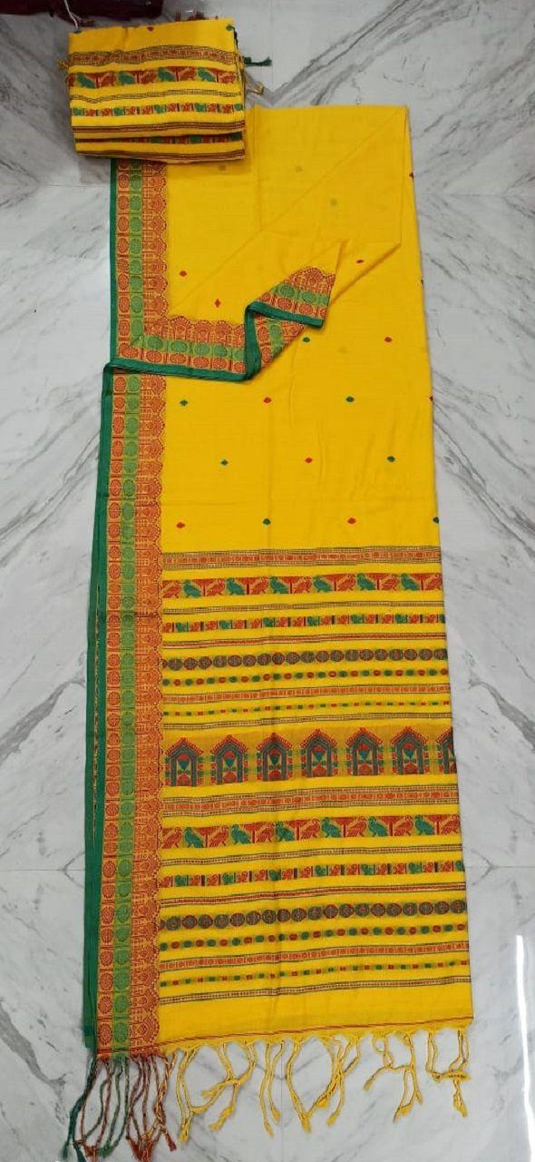 Divine Yellow Pure Cotton Saree With Intricate Handwoven Border Pallu