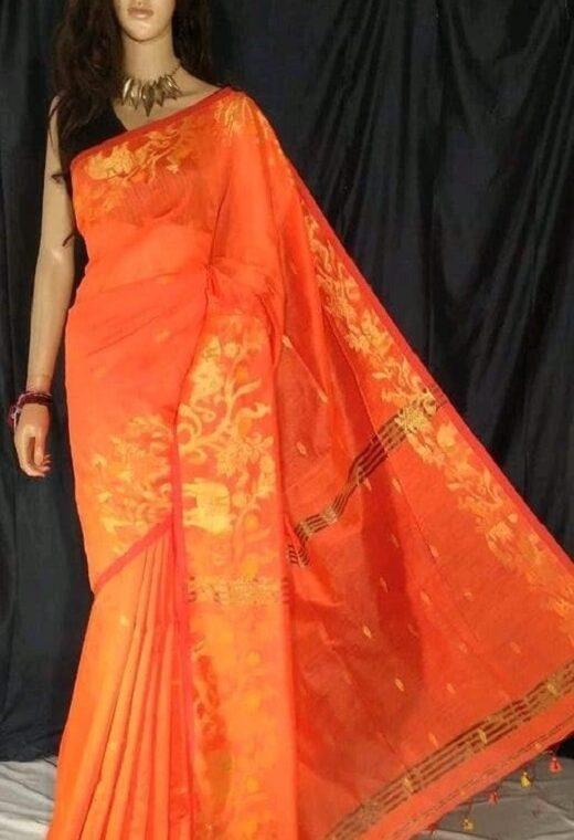 Enchanting Orange Cotton Silk Saree With Artistic Border Weave