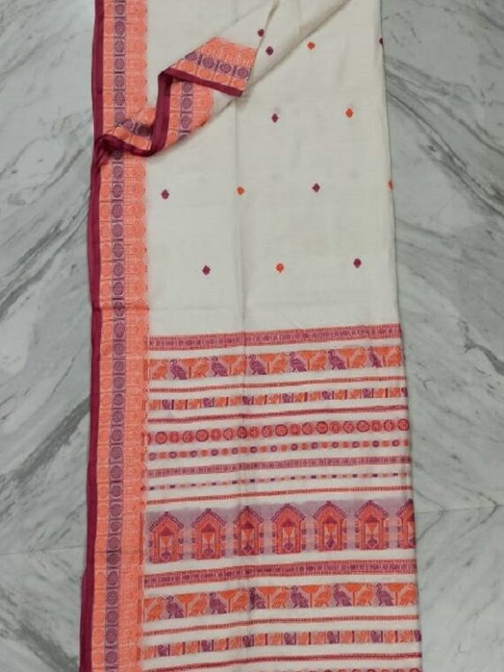 Enchanting White Pure Cotton Saree With Intricate Handwoven Border Pallu