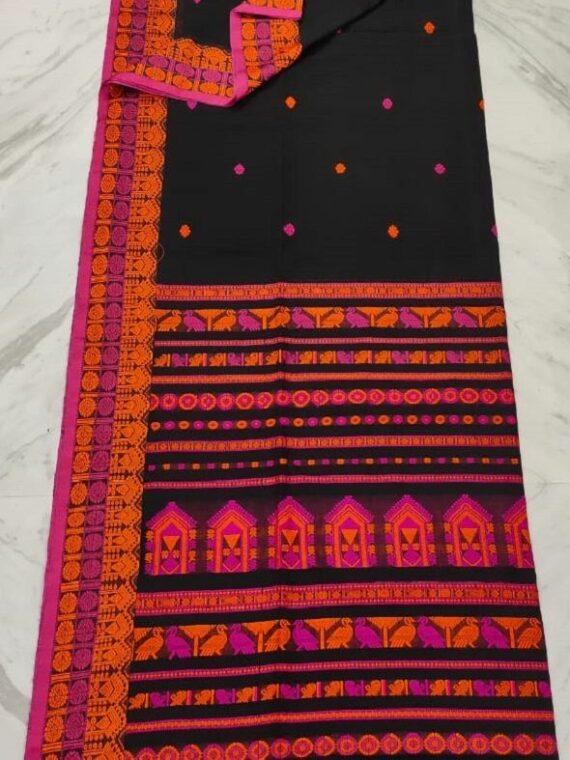 Gorgeous Black Pure Cotton Saree With Intricate Handwoven Border Pallu