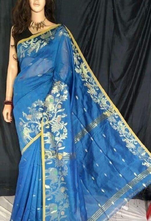 Ravishing Blue Cotton Silk Saree With Artistic Border Weave