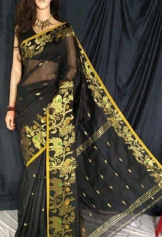 Stunning Black Cotton Silk Saree With Artistic Border Weave