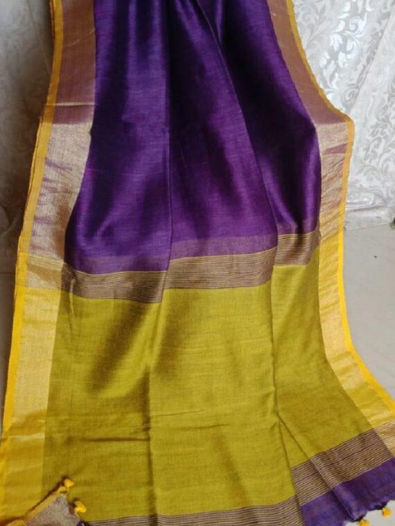 Stunning Plain Purple Linen Saree With Contrast Pallu Border