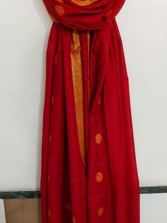 Stunning Red Ball Butti Linen Dupatta
